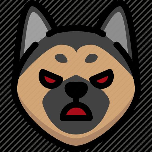 angry, emoji, emotion, expression, face, feeling, german shepherd icon