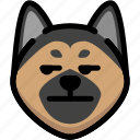 annoying, emoji, emotion, expression, face, feeling, german shepherd icon