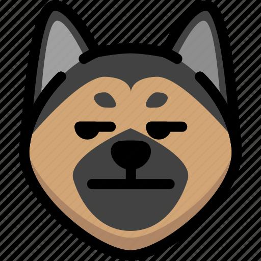 annoying, emoji, emotion, expression, face, feeling, german shepherd icon