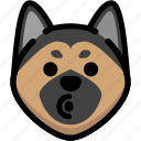 blowing, emoji, emotion, expression, face, feeling, german shepherd icon