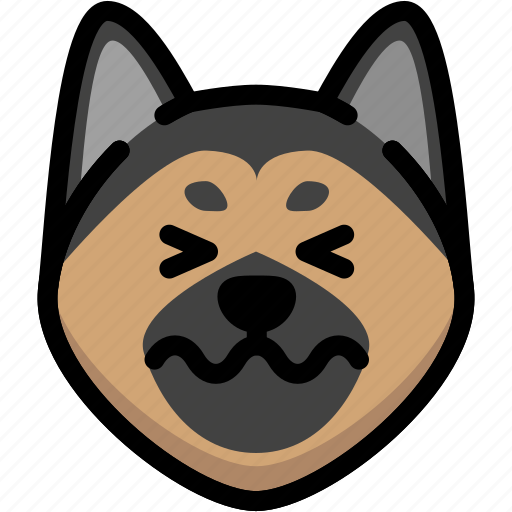 confounded, emoji, emotion, expression, face, feeling, german shepherd icon