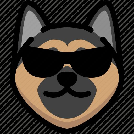 cool, emoji, emotion, expression, face, feeling, german shepherd icon