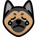 cry, dog, emoji, emotion, expression, face, feeling icon