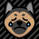 cry, dog, emoji, emotion, expression, face, feeling icon