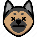 dead, dog, emoji, emotion, expression, face, feeling icon