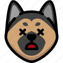 dead, emoji, emotion, expression, face, feeling, german shepherd icon