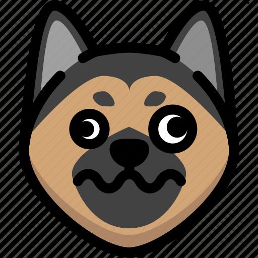 dizzy, emoji, emotion, expression, face, feeling, german shepherd icon