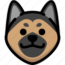 emoji, emotion, expression, face, feeling, german shepherd, grinning icon