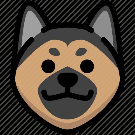 emoji, emotion, expression, face, feeling, german shepherd, grinning icon