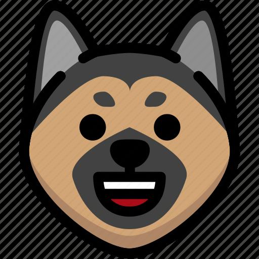 dog, emoji, emotion, expression, face, feeling, happy icon
