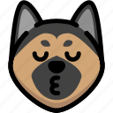 dog, emoji, emotion, expression, face, feeling, kiss icon