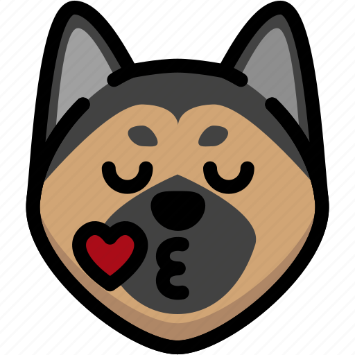 emoji, emotion, expression, face, feeling, german shepherd, kiss icon