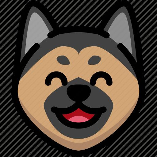 emoji, emotion, expression, face, feeling, german shepherd, laughing icon