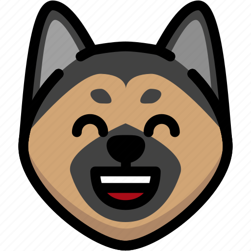 Dog, emoji, emotion, expression, face, feeling, laughing icon - Download on Iconfinder