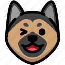 emoji, emotion, expression, face, feeling, german shepherd, laughing icon