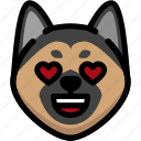 emoji, emotion, expression, face, feeling, german shepherd, love icon