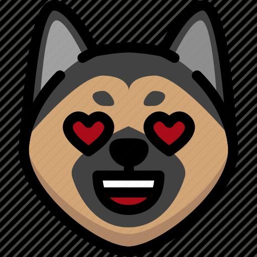 emoji, emotion, expression, face, feeling, german shepherd, love icon