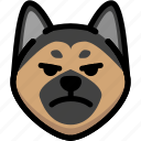 dog, emoji, emotion, expression, face, feeling, mad icon