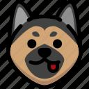 emoji, emotion, expression, face, feeling, german shepherd, naughty icon