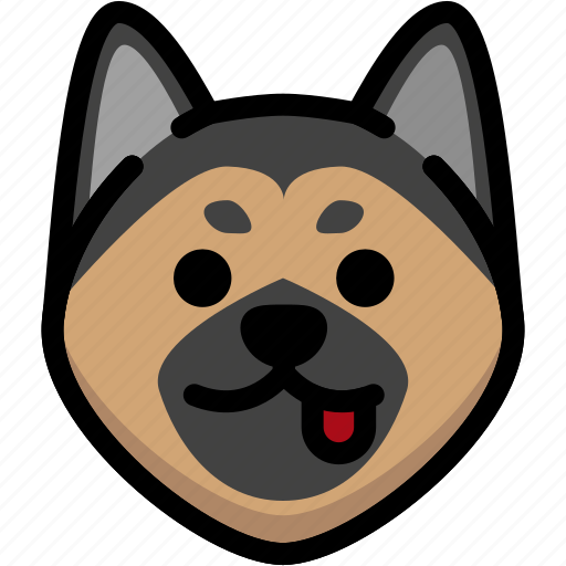 emoji, emotion, expression, face, feeling, german shepherd, naughty icon