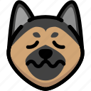emoji, emotion, expression, face, feeling, german shepherd, nervous icon