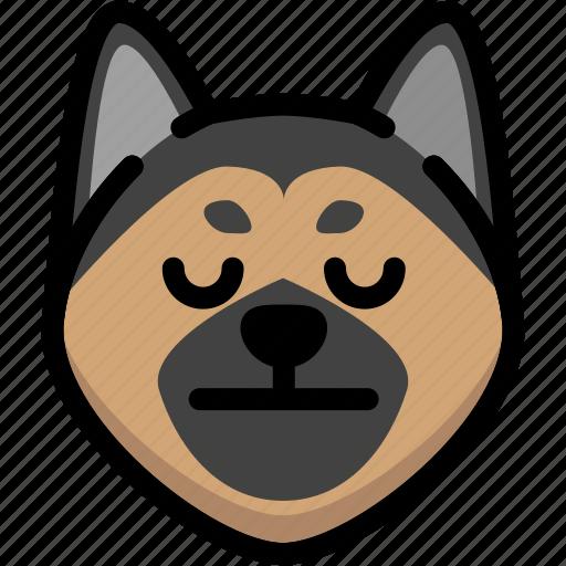 emoji, emotion, expression, face, feeling, german shepherd, neutral icon