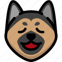 dog, emoji, emotion, expression, face, german shepherd, relax icon