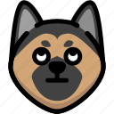 emoji, emotion, expression, eyes, face, german shepherd, rolling