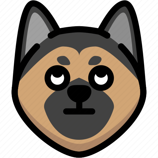 emoji, emotion, expression, eyes, face, german shepherd, rolling icon