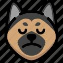 emoji, emotion, expression, face, feeling, german shepherd, sad icon