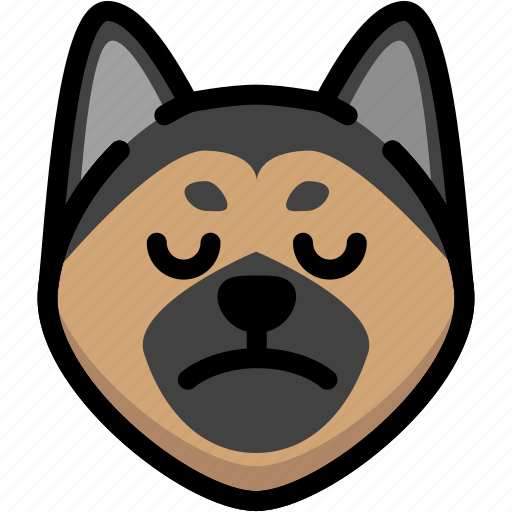 emoji, emotion, expression, face, feeling, german shepherd, sad icon