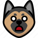 emoji, emotion, expression, face, feeling, german shepherd, shocked icon