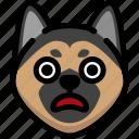 emoji, emotion, expression, face, feeling, german shepherd, shocked icon
