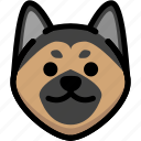 emoji, emotion, expression, face, feeling, german shepherd, smile icon