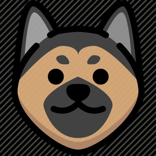emoji, emotion, expression, face, feeling, german shepherd, smile icon