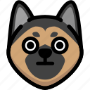 emoji, emotion, expression, face, feeling, german shepherd, stunning icon