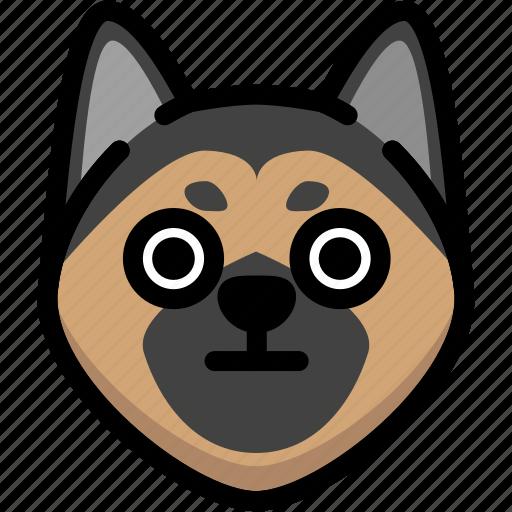 emoji, emotion, expression, face, feeling, german shepherd, stunning icon