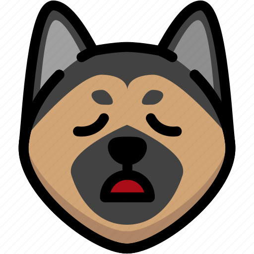 emoji, emotion, expression, face, feeling, german shepherd, tried icon