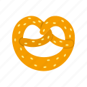 bread, eat, food, pretzel, salt, salty, snack icon