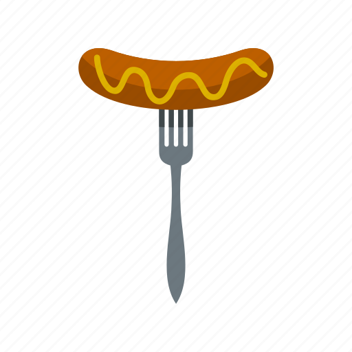 cooked, food, fork, grilled, meat, pork, sausage icon