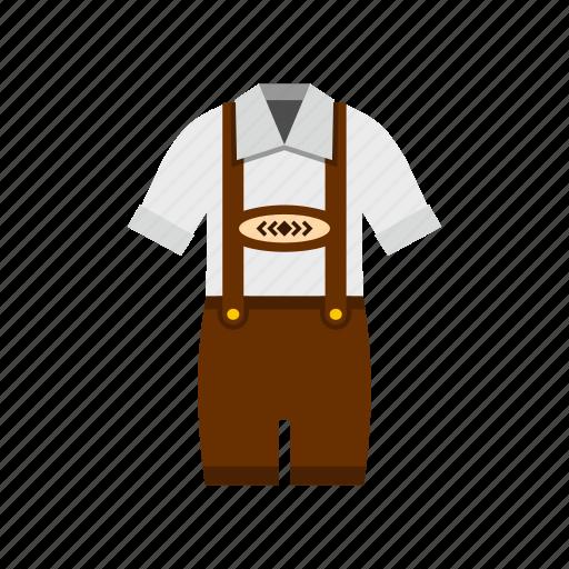 bavarian, brown, costume, german, oktoberfest, panrs, shirt icon