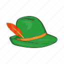 cartoon, feather, germany, green, hat, oktoberfest, traditional icon