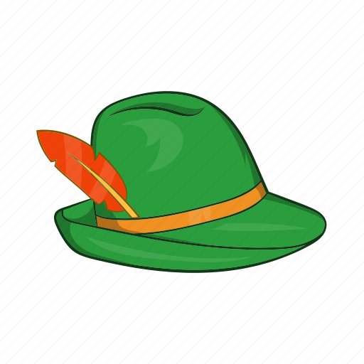 cartoon, feather, germany, green, hat, oktoberfest, traditional icon