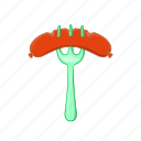 barbecue, cartoon, food, fork, grilled, pork, sausage icon