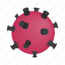 disease, human, isometric, pink, sphere, thorns, virus icon