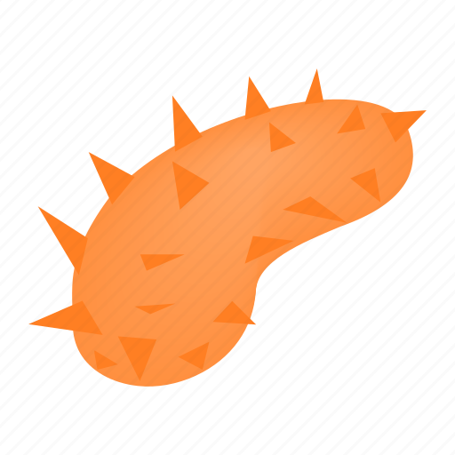 human, isometric, orange, oval, surround, thorns, virus icon