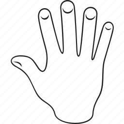 arm, finger, five, gesticulation, gesture, hand, palm icon