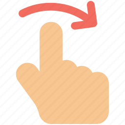 arrow, finger, gesture, hand, rotate icon icon icon