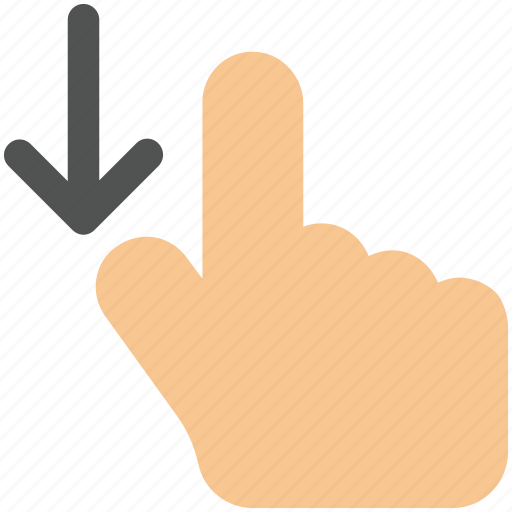 arrow, down, drag, finger, gesture, hand icon icon icon