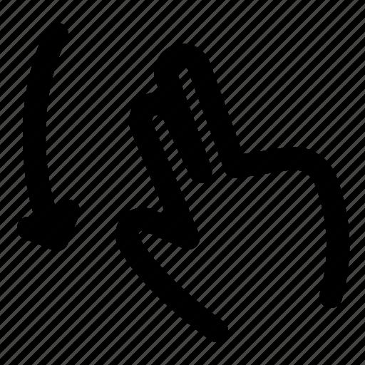 2x, down, flick, gesture, swipe, tab, touchpad icon